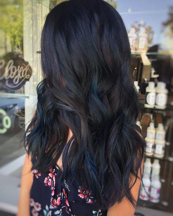 long black hair with dark blue highlights blueturquois