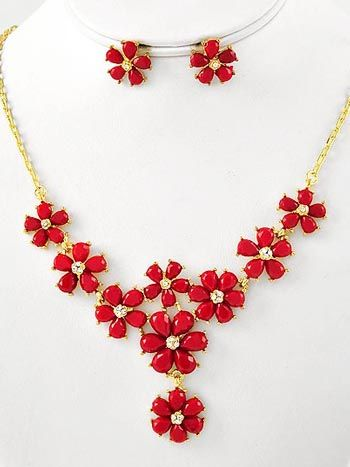 """Red Flower and Rhinestone Y Necklace Earrings Set ~ Blue Velvet Vintage $22.99 ~ Lovely vintage inspired red flower and rhinestone Y necklace and earrings set. Reminiscent of 50s and 60s thermoset jewelry, red faceted plastic faux stones for petals with tiny clusters of rhinestones in center. Prong Set in goldtone mountings.     Goldtone chain with lobster claw clasp.   Matching red flower stud earrings with posts.   Necklace adjustable up to 19""""."""