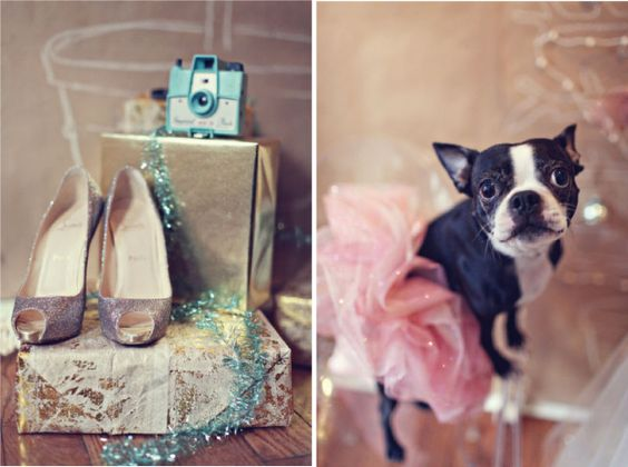 Trendy Holiday Wedding... Lots of Glitter and a Boston Terrier in a Tutu - Who Could Ask for Anything More? :-)  #sparklinginspiration
