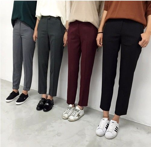 Tapered ankle slacks with sneakers