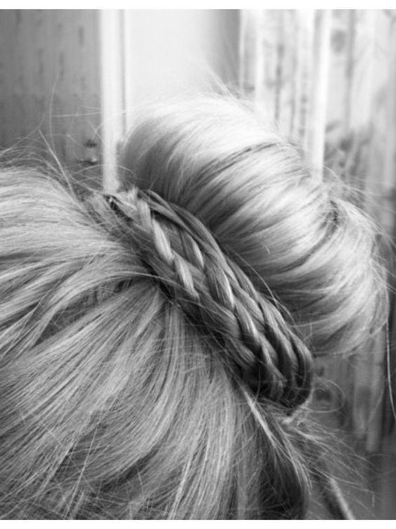 topknot: Braided Sock Bun, Braided Buns, Hair Styles, Sockbun, Hair Makeup, Hairstyle, Bun Braid