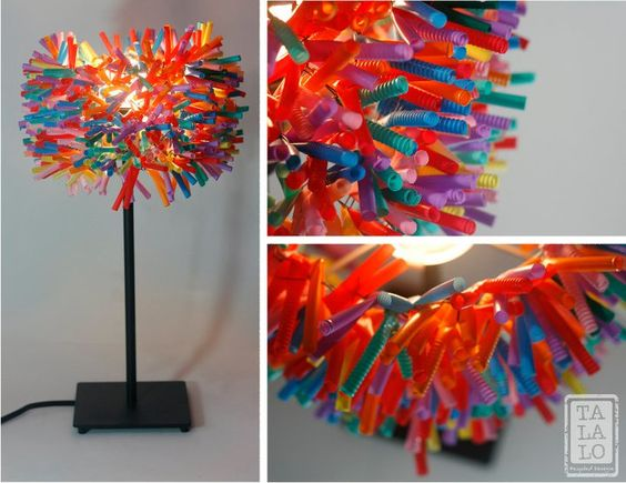 Drinking straw recycled Lamp https://www.facebook.com/talalorecycleddesigns