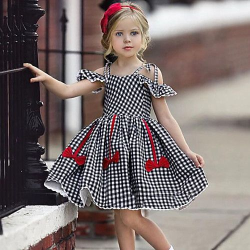 Baby Girls' Active / Street chic Check / Patchwork Bow / Ruffle Sleeveless  Rayon Dress Black - £1…   Girls fashion dress, Girls fashion summer, Girls  dresses online