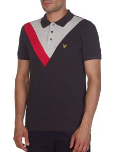 Lyle and Scott Intarsia Y Detail Polo Shirt worn by model