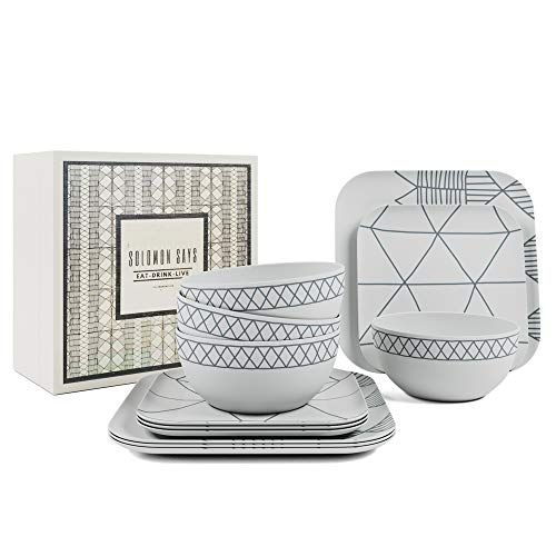 Bamboo Dinnerware 12 Piece Set Reusable Tableware Dinner Plates And Bowls Indoor Outdoor Shatterproof Dishes In 2020 Dinnerware Set Plates And Bowls Bamboo Dishes