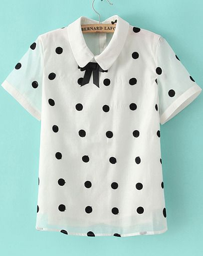 White Lapel Short Sleeve Polka Dot Chiffon Blouse pictures