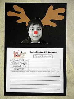 Persuasive writing - Santa's reindeer job application - love the picture idea!! I did it with a different writing and the pictures turned out SO cute!!