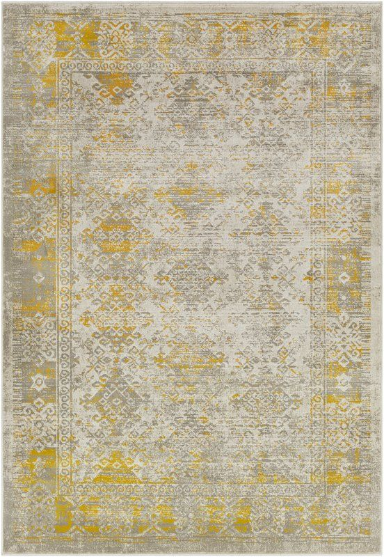 Anil Yellow Gray Area Rug Yellow Home Accessories Traditional