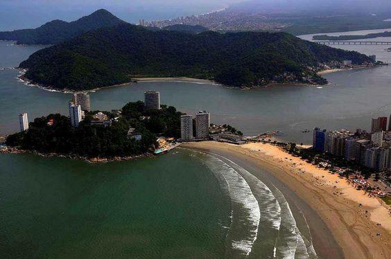 Vista aérea da praia do Itararé  São Vicente, São Paulo