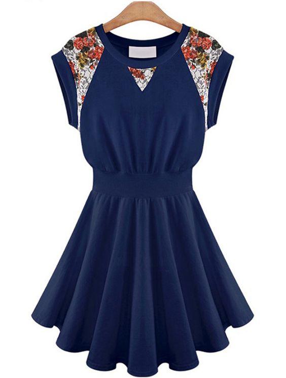 Kleid mit Schößchensaum und floralen Spitze, marineblau-Sheinside