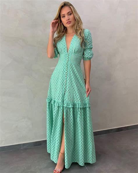 Vestidos Longo de verão verde bolinha