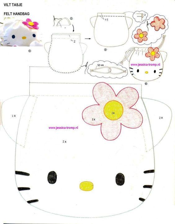 Chão de Giz Artesanatos: Bolsa infantil de Feltro da Hello Kitty - Passo-a-passo