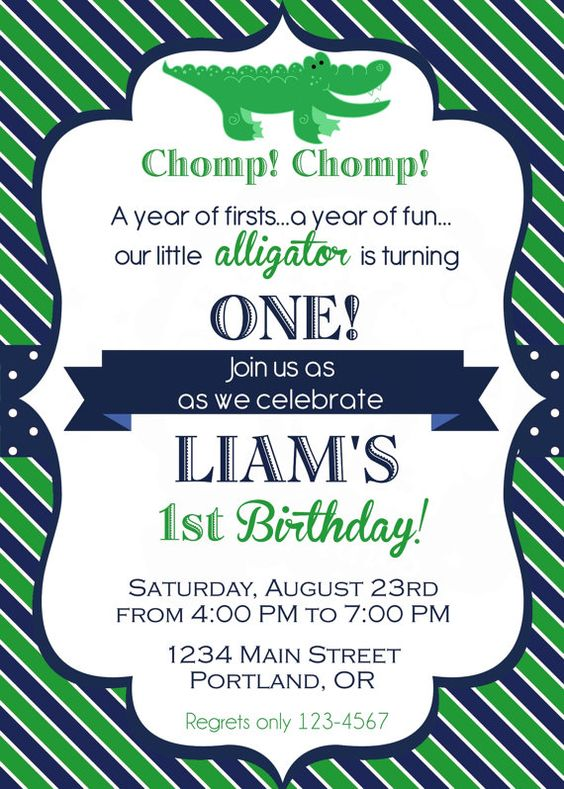 Alligator Birthday Invitation - perfect for an Alligator Party