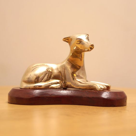 Solid Brass dog statue  cute vintage dog sculpture  by UKAmobile