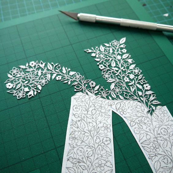 Letter K papercut (work in progress) by Suzy Taylor