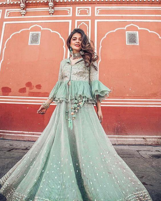 Twirl Away : Blogger Natasha Luthra goes desi in a peplum styled lehenga ensemble by Devnaagri. Take cues to doll up for your next Rsvp'ed festive soiree! . We ship worldwide! WhatsApp us +91 8488070070