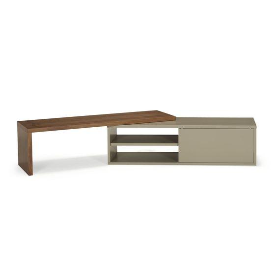 Meuble tv extensible bicolore placage noyer gris for Meuble tv extensible