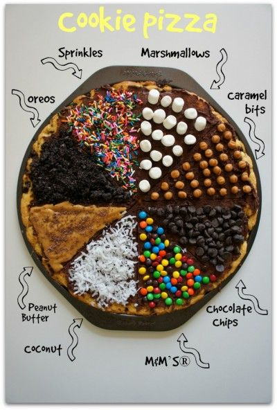 Chocolate Chip Cookie Pizza with Fun Toppings | M & m chocolate ...