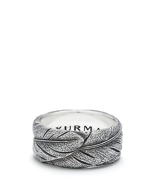 David Yurman Southwest Wide Feather Band Ring Silver Silver