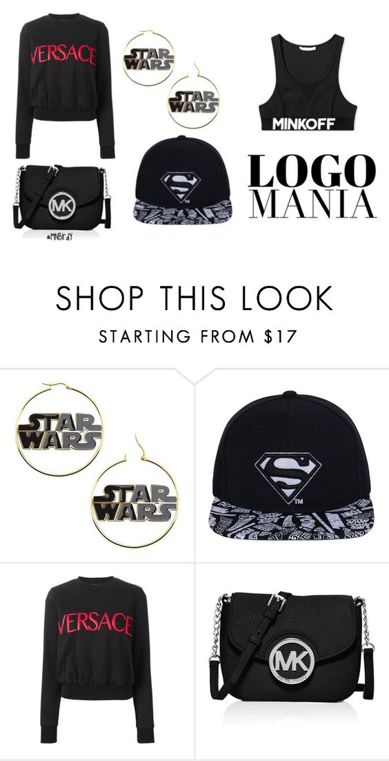 """""""Dark Side"""" by mnbirdy ❤ liked on Polyvore featuring Versace, MICHAEL Michael Kors, Rebecca Minkoff, women's clothing, women, female, woman, misses, juniors and logomania"""