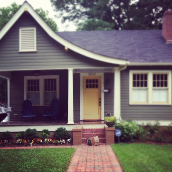 Yellow Front Doors House Colors And Gray Siding On Pinterest