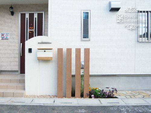 門柱 塗装 角柱 Lixil デザイナーズパーツ 玄関 エクステリア 玄関 前 壁 玄関アプローチ コンクリート