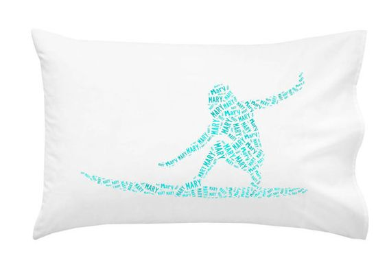 Personalized Pillowcase Surfer Girl Surf Pillow Room Decor  Gift Monogram