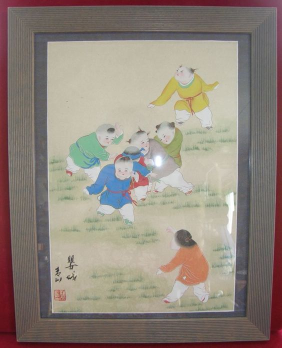 VINTAGE WATERCOLOR W PENCIL CHINESE ORIENTAL ART SIGNED FRAMED CHILDREN  99$