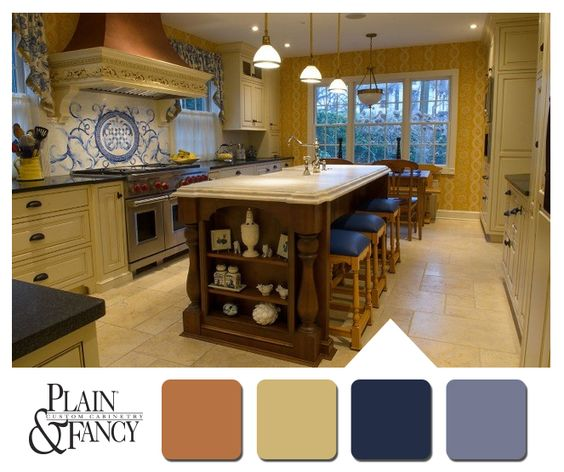 French country kitchen with warm color scheme for Country kitchen paint colors