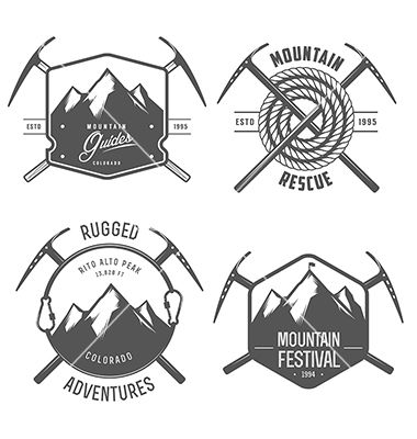 Set of vintage mountain explorer labels and badges vector 1610049 - by ivanbaranov on VectorStock®