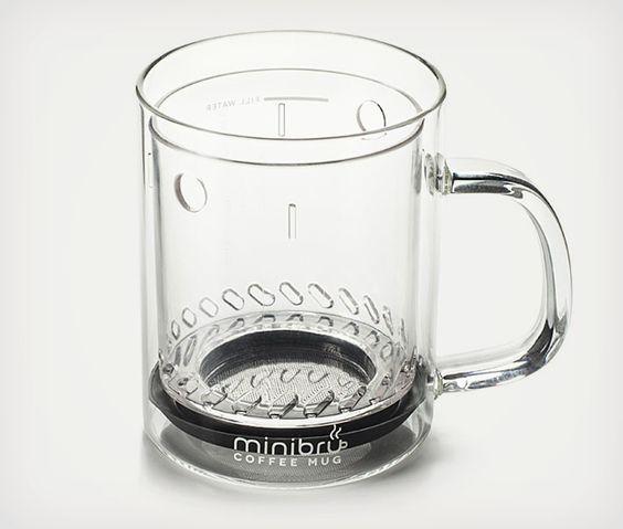 Minibru Coffee Mug   I NEED this thing for work. So awesome.