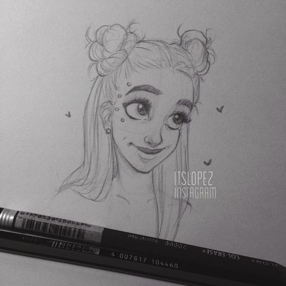 Scribble Drawing Instagram : Laia lópez op instagram quot space buns art itslopez