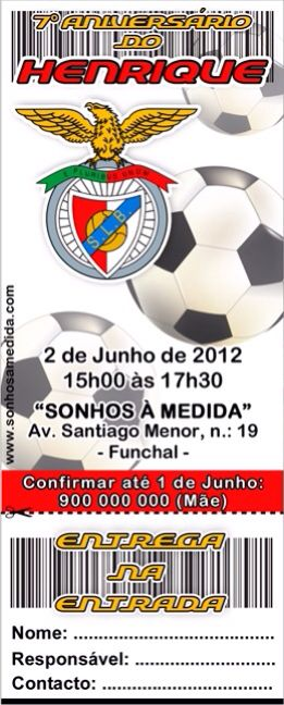 Convite de aniversário BENFICA   Futebol   Pinterest