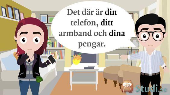 Possessiva pronomen, del 1 (Svenska) - Studi.se