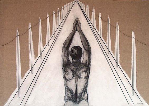 Esterio Segura, The Dilemma of Crossing, mixed media on linen.