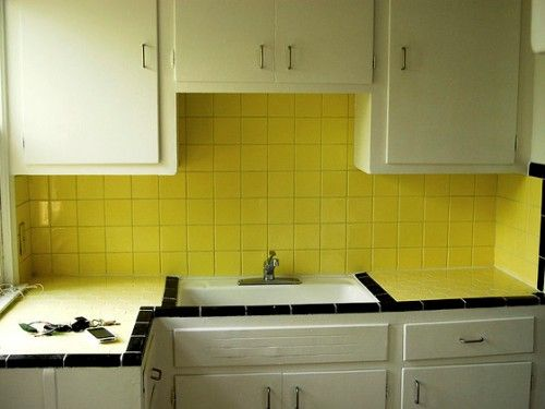 This Image Is About Best And Popular Kitchen Wall Tiles Designs And Titled Yellow Ceramic Wal Vintage Tiles Kitchen Yellow Kitchen Tiles White Kitchen Tiles
