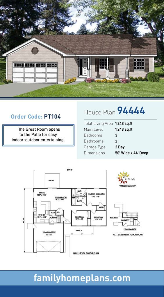 Ranch Style House Plan 94444 With 3 Bed 2 Bath 2 Car Garage Ranch Style Homes Rancher House Plans Ranch Style House Plans