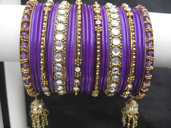 Kundan: Dark Purple Bangles (2.4 / 2.6 )