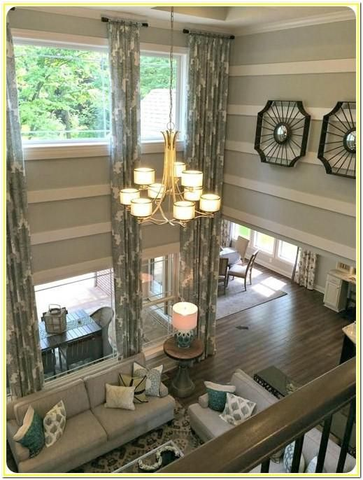 2 Story Living Room Wall Ideas In 2020 High Ceiling Living Room Home Decor Curtains Living Room #tall #ceiling #living #room