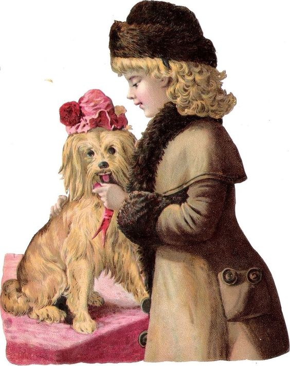 Oblaten Glanzbild scrap die cut  Kind  17cm child Hund dog Winter Mädchen Mantel:
