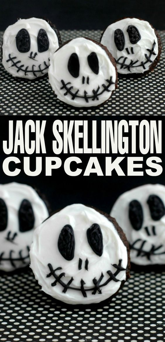 who doesnt love tim burton inspired treats these jack skellington cupcakes are perfect for halloween and incredibly easy to create - Halloween Inspired Cupcakes