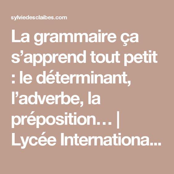 La grammaire ça s'apprend tout petit : le déterminant, l'adverbe, la préposition… | Lycée International Montessori - Ecole Athéna - Le blog de Sylvie d'Esclaibes.