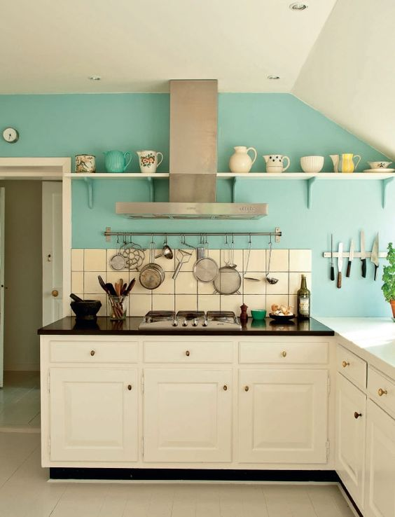 white kitchen cabinets and turquoise wall