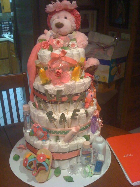 Its a girl diaper cake!!