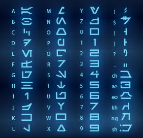 """""""Aurebesh"""" font. Star Wars. See Star Tours scrapbook pages at http://mousescrappers.com/forums/showthread.php?t=4038"""