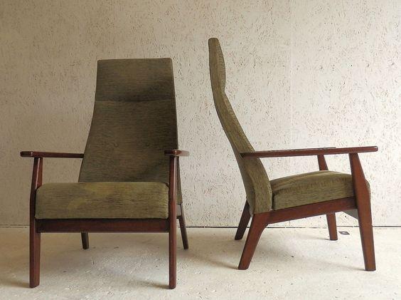 Amazing Mid Century Retro Green Textured Fabric Parker Knoll Armchairs