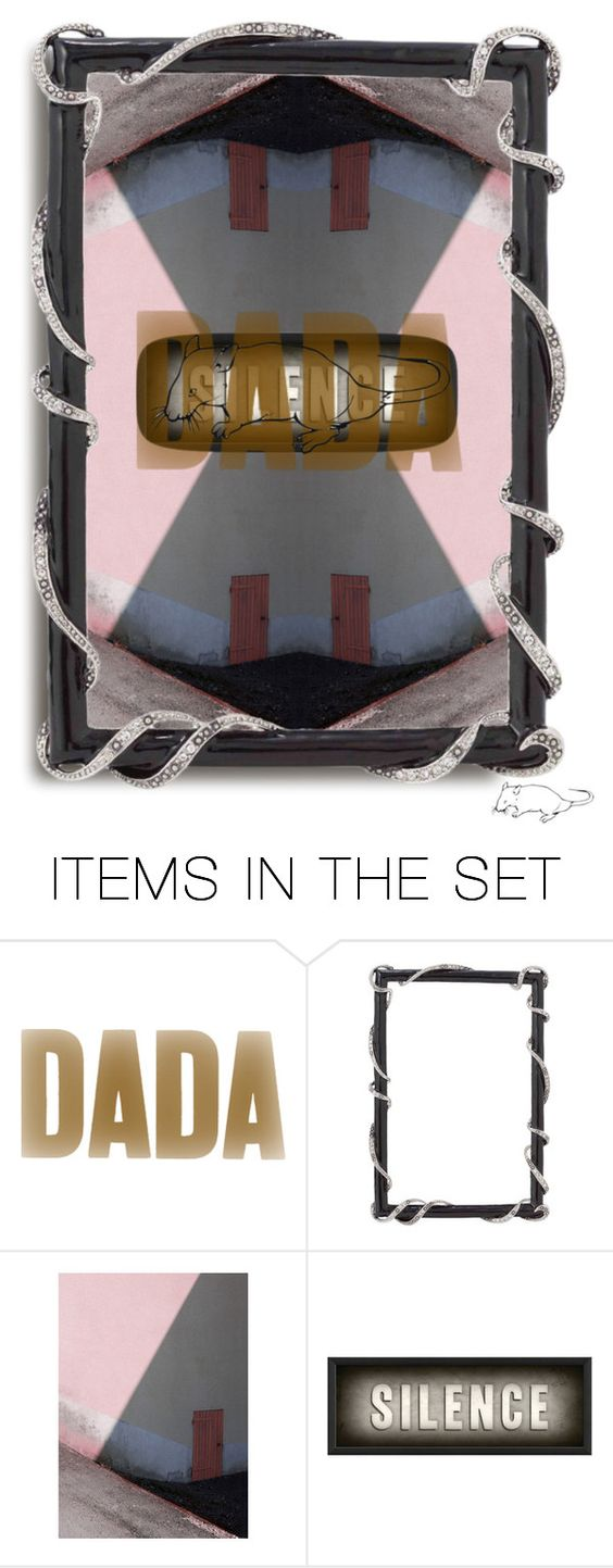 """DADA [rat] SILENCE"" by rawrat ❤ liked on Polyvore featuring art, DADA and rawrat"