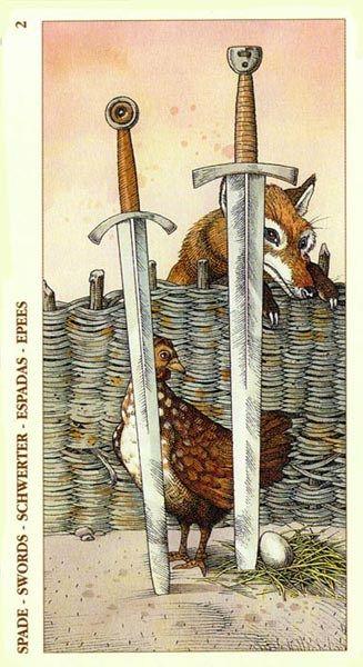 Two of Swords - Albrecht Dürer Tarot (2002) by Giacinto Gaudenzi