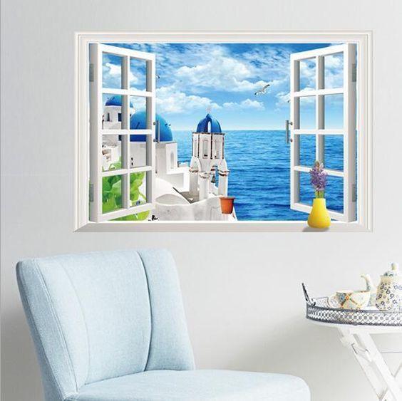 3d beach resort window view removable wall sticker art vinyl decal decor mural…