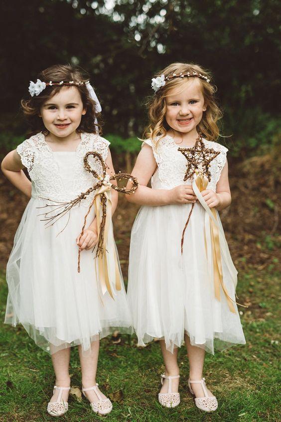 Flower Girls Wands Ribbons Whimsical Boho Woodland Wedding http://katmervynphotography.com/